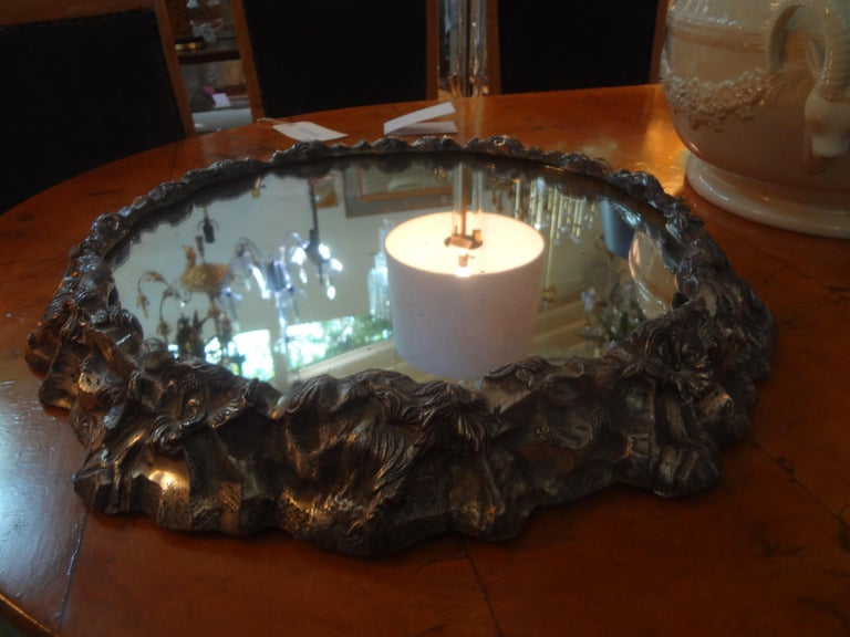 Antique Continental Silver Plated Mirrored Plateau For Sale 6