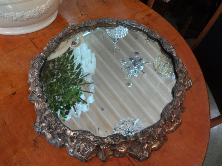 Rococo Antique Continental Silver Plated Mirrored Plateau For Sale