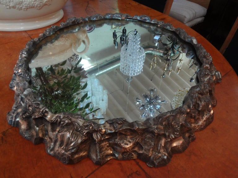 Antique Continental Silver Plated Mirrored Plateau In Good Condition For Sale In Houston, TX