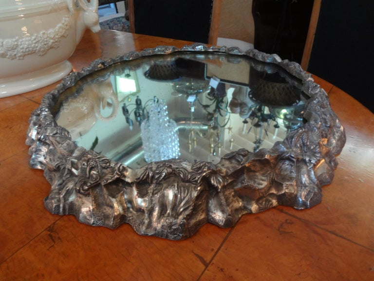 Antique Continental Silver Plated Mirrored Plateau For Sale 3