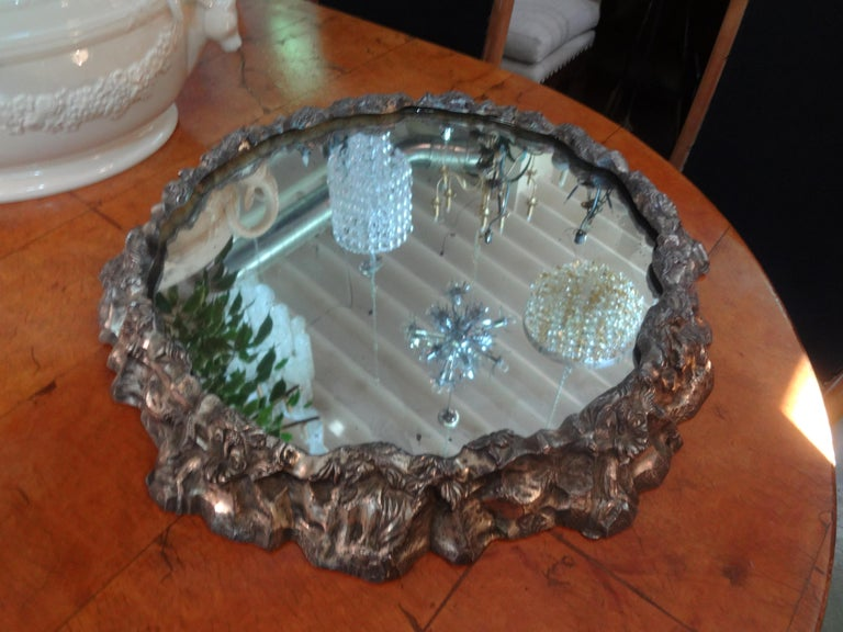 Antique Continental Silver Plated Mirrored Plateau For Sale 4