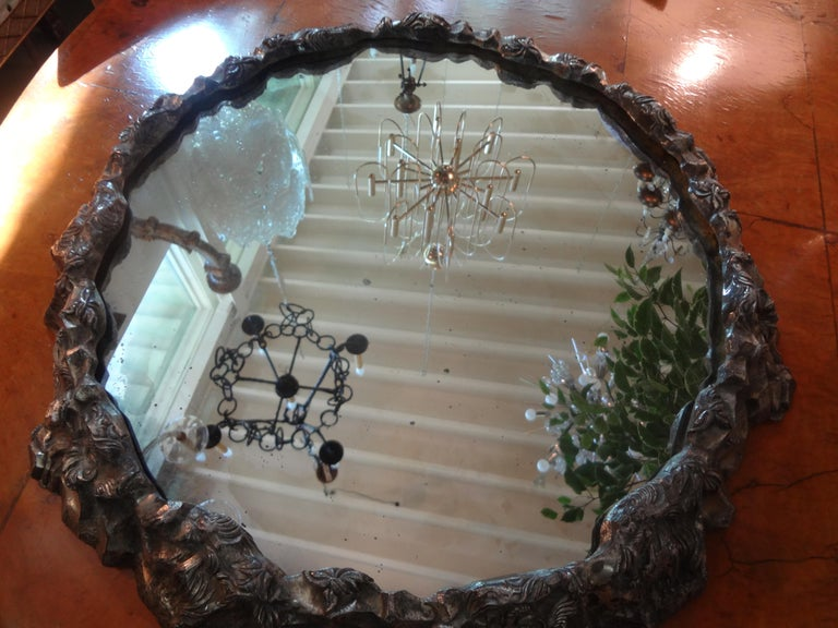 Antique Continental Silver Plated Mirrored Plateau For Sale 5