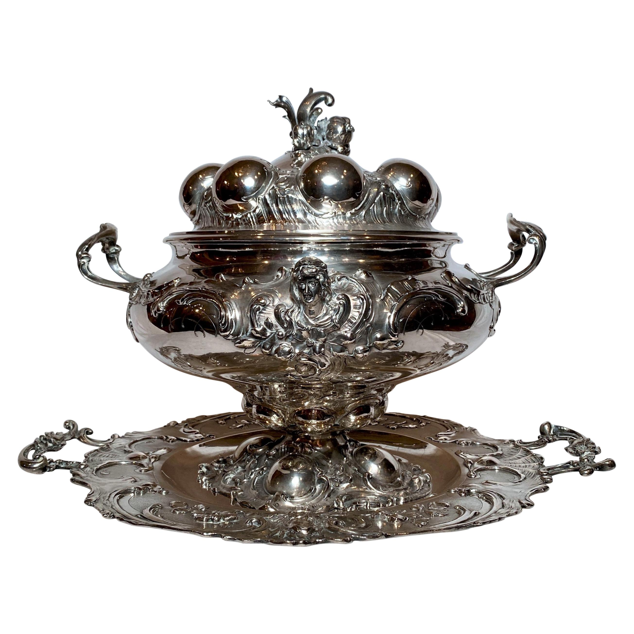 Antique Continental Silver Tureen and Platter, Circa 1880-1890