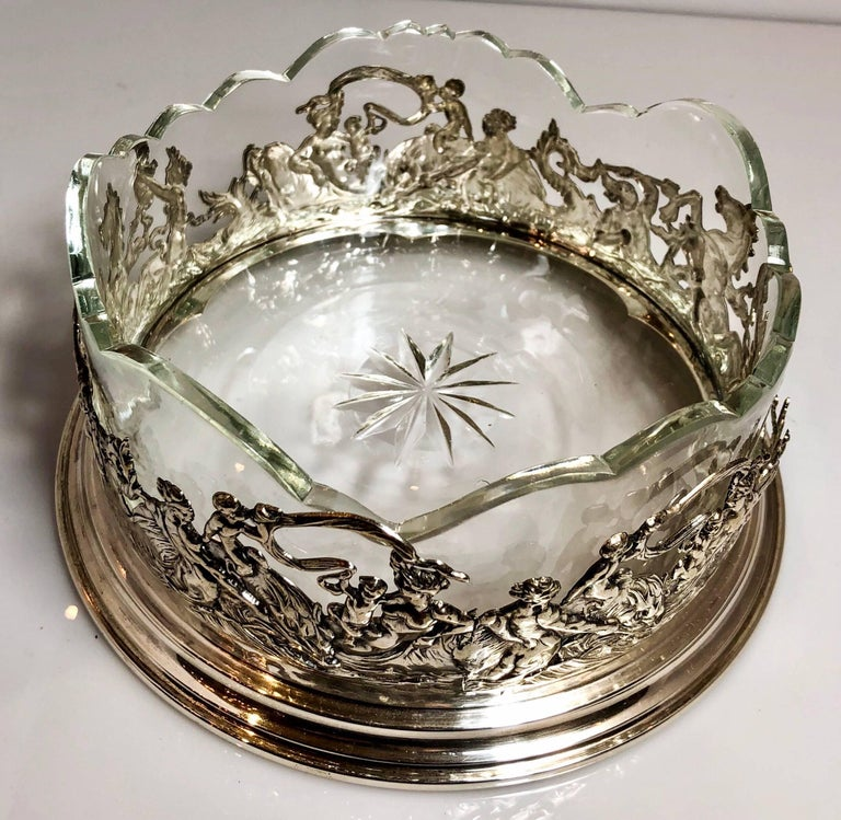 German Antique Continental Silver Wine Coaster with Crystal Liner, circa 1900-1910 For Sale