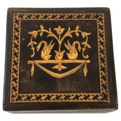 Antique Continental Square Marquetry Inlaid Walnut Trinket Box or Snuff Box