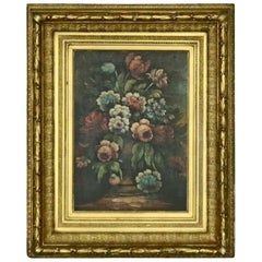 Antique Continental Style Oil Floral Still Life Oil on Canvas by Perry