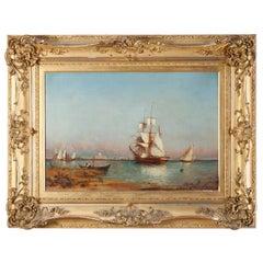 Antique Continental Venetian Harbor Scene, Artist Signed, circa 1890