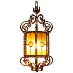Antique Continental Wrought Iron and Art Glass Hanging Pendant Light, circa 1920