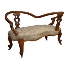 Antique Conversation Sofa, English, Fruitwood, Loveseat, Tete-a-Tete, Courting