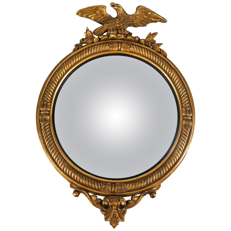 Antique Convex Mirror with Eagle Motif, 20th Century