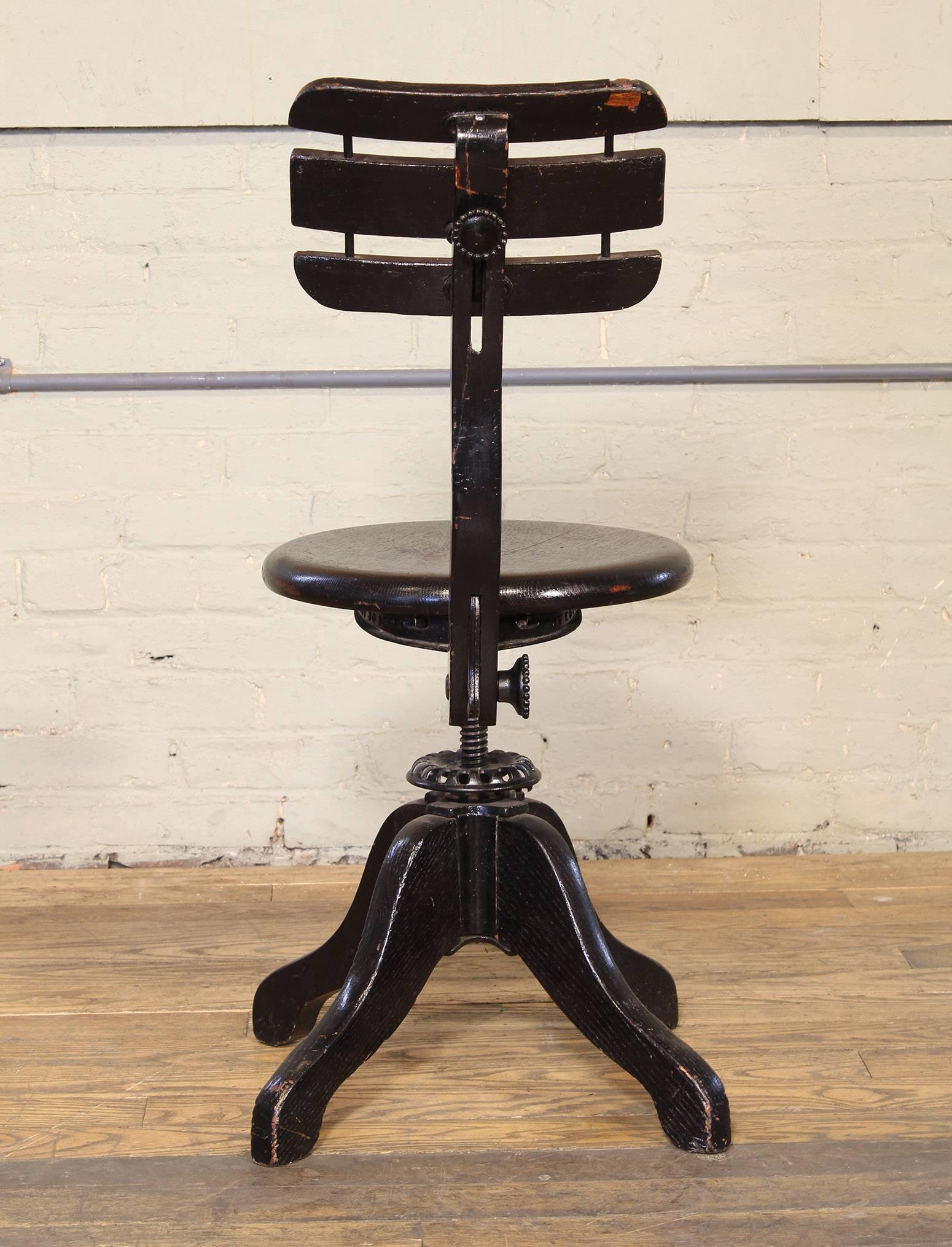 Antique Adjustable Wooden Desk Stool By Cook At 1stdibs