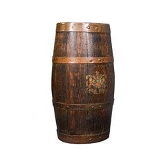 Antique Coopered Barrel Stick Stand, English, Oak, Hallway Portico, Victorian