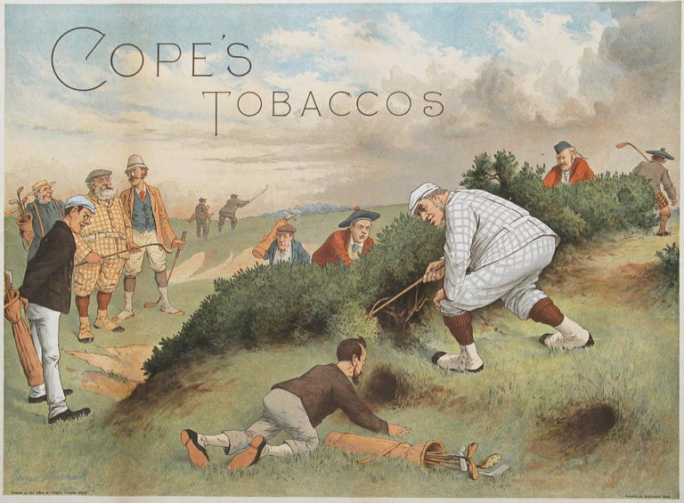 Sporting Art Antique Copes Tobacco Golf Print, A Lost Ball by George Pipeshank For Sale