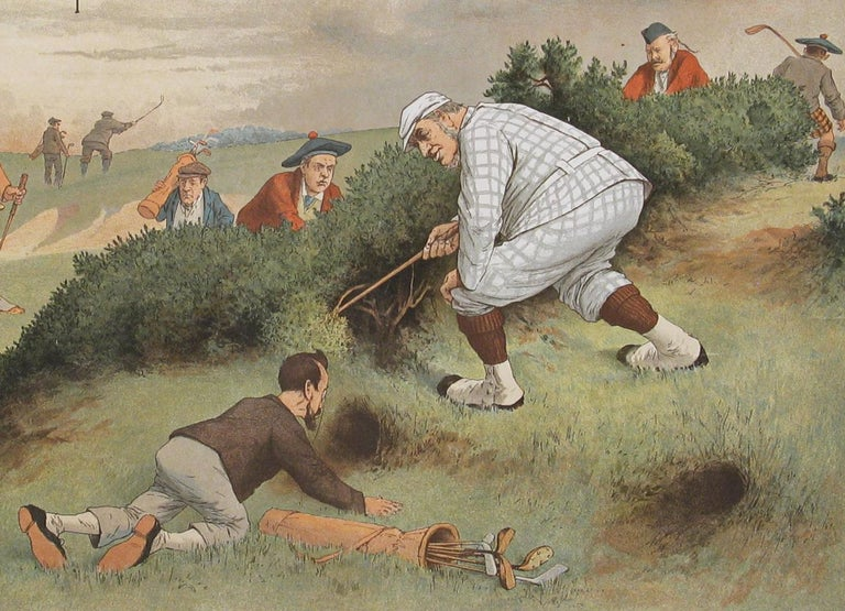 English Antique Copes Tobacco Golf Print, A Lost Ball by George Pipeshank For Sale