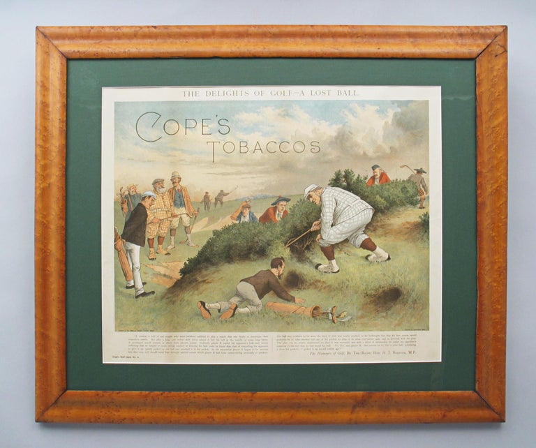 Antique Copes Tobacco Golf Print, A Lost Ball by George Pipeshank In Good Condition For Sale In Oxfordshire, GB