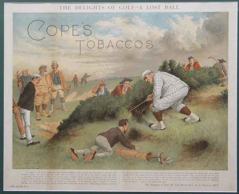 19th Century Antique Copes Tobacco Golf Print, A Lost Ball by George Pipeshank For Sale