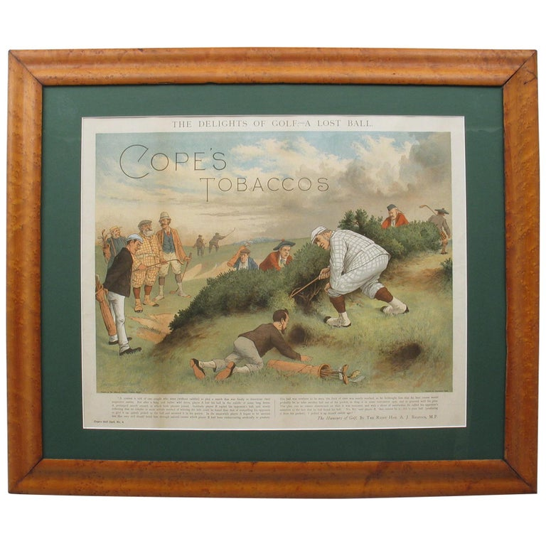 Antique Copes Tobacco Golf Print, A Lost Ball by George Pipeshank For Sale