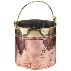 Antique Copper and Brass Coal Bucket, circa 1800