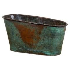 Antique Copper Bath Tub with Verdigris Patina, 20th Century