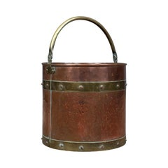 Antique Copper Coal Bin, English, Victorian, Fireside Scuttle Bucket, circa 1890