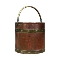Antique Copper Coal Bin, English, Victorian, Fireside Scuttle Bucket, circa 1890