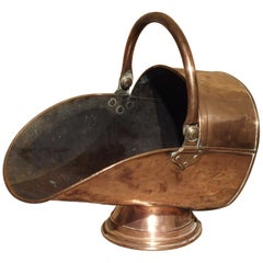 Antique Copper Coal Scuttle from England, circa 1885