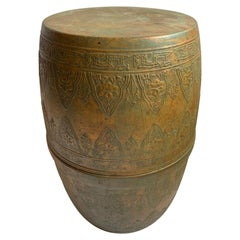 Antique Copper Moroccan Cylindrical Garden Seat End Table