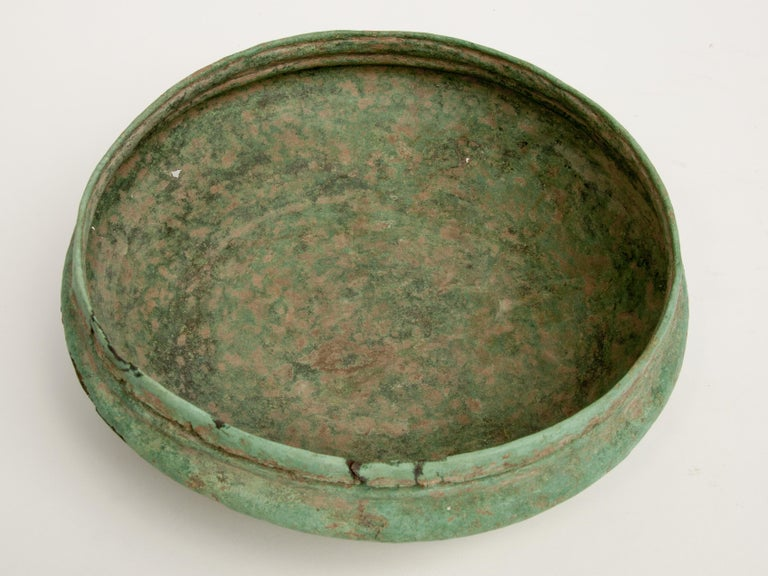 Antique Copper or Bronze Offering Bowl Eastern Thailand, 19th Century or Earlier In Distressed Condition For Sale In Point Richmond, CA