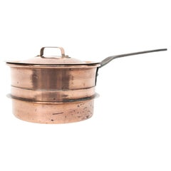 Antique Copper Saucepan with Cast Iron Handle, Small Size from Sweden Late 1800
