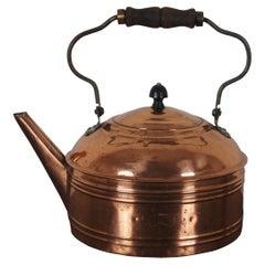 Antique Copper Tea Kettle Coffee Pot Straight Spout Rustic Wooden Handle