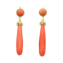 Antique Coral and 20k Yellow Gold Drop Earrings Circa 1830
