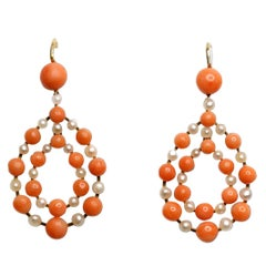 Antique Coral and Pearl Gold Teardrop Earrings