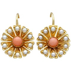Antique Coral and Seed Pearl Yellow Gold Earrings