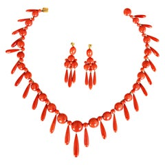 Antique Coral Button and Drop Earrings and Necklace, circa 1900
