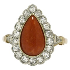 Antique Coral Cocktail Ring Diamond Halo Pear Teardrop Ox Blood Coral 2-Tone