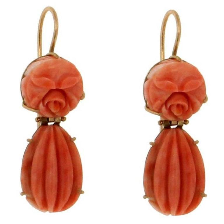 Coral Gold Drop Earrings