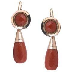 Antique Coral Gold Drop Earrings