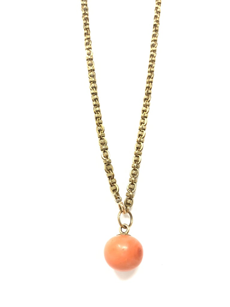 Moguldiam Inc Antique Coral Gold Necklace.  Coral Measurements : 18mm-18mm-15mm  Necklace length : 11 1/4 inches with pendant  10 1/2 inches without pendant