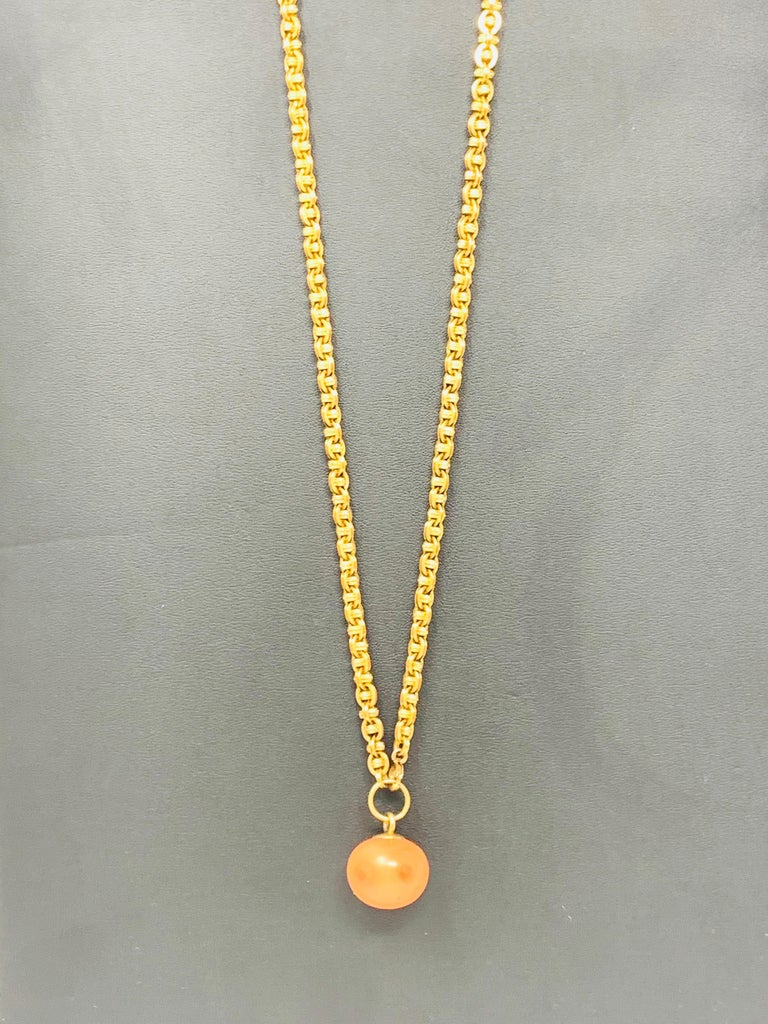 Round Cut Antique Coral Gold Necklace For Sale