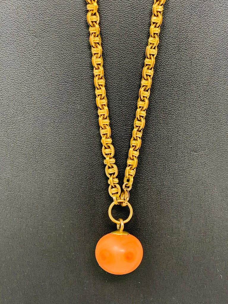 Antique Coral Gold Necklace In Excellent Condition For Sale In New York, NY