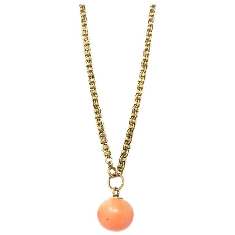 Antique Coral Gold Necklace For Sale