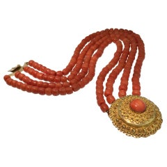 Antique Coral, Necklace, Gold, 1880, Dutch Costume Jewelry
