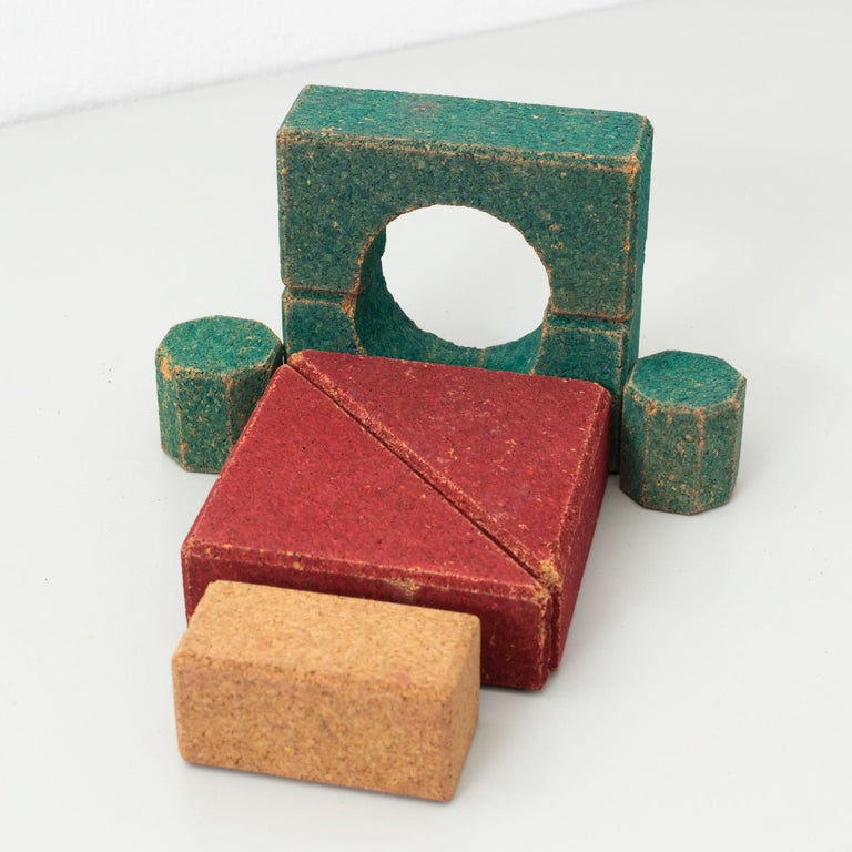 Antique Cork Construction Set Game, circa 1930 In Good Condition For Sale In Barcelona, Barcelona