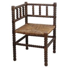 Antique Corner Bobbin Chair, English, 19th Century