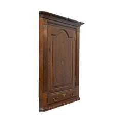 Antique Corner Cabinet, English, Georgian, Oak, Hanging, Cupboard, circa 1780