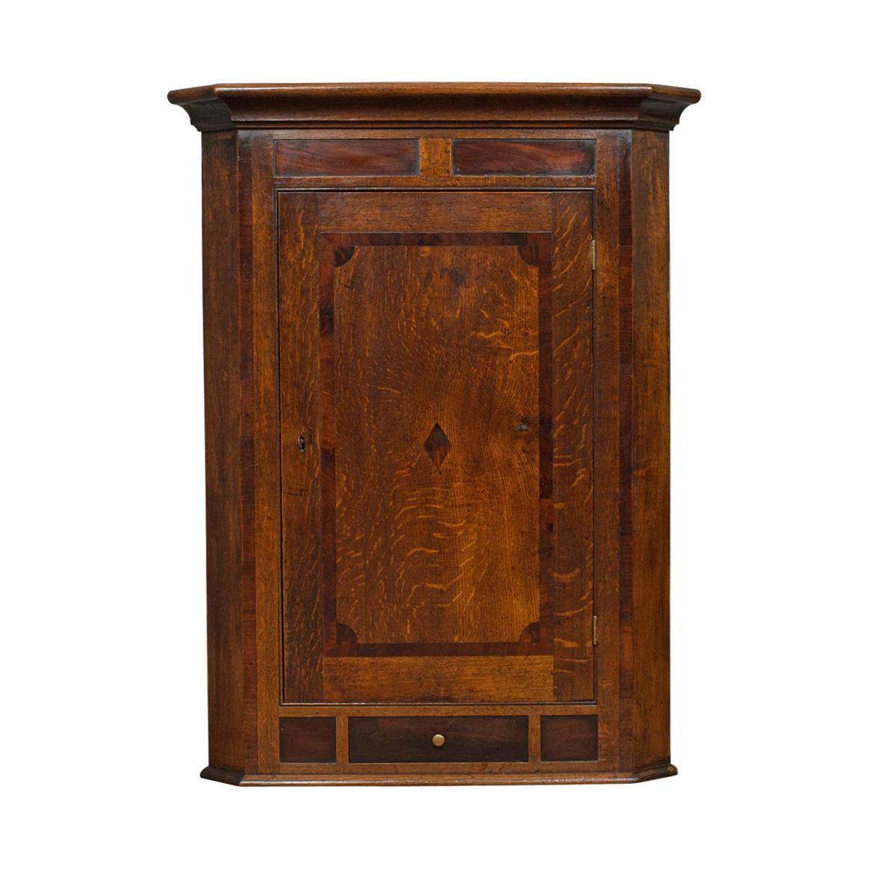 Corner Cabinet, English, Georgian, Oak, Hanging, Wall Cupboard, circa 1780