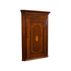 Antique Corner Cabinet, English, Mahogany, Walnut, Inlay, Georgian, circa 1800