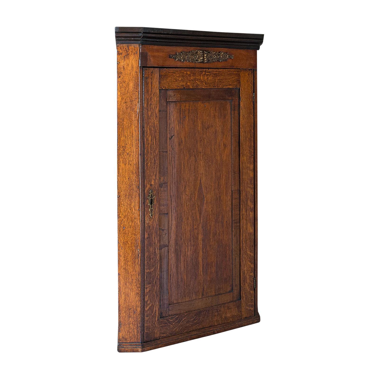 Antique Corner Cabinet, English, Oak, Mahogany, Georgian, Hanging Cupboard, 1800