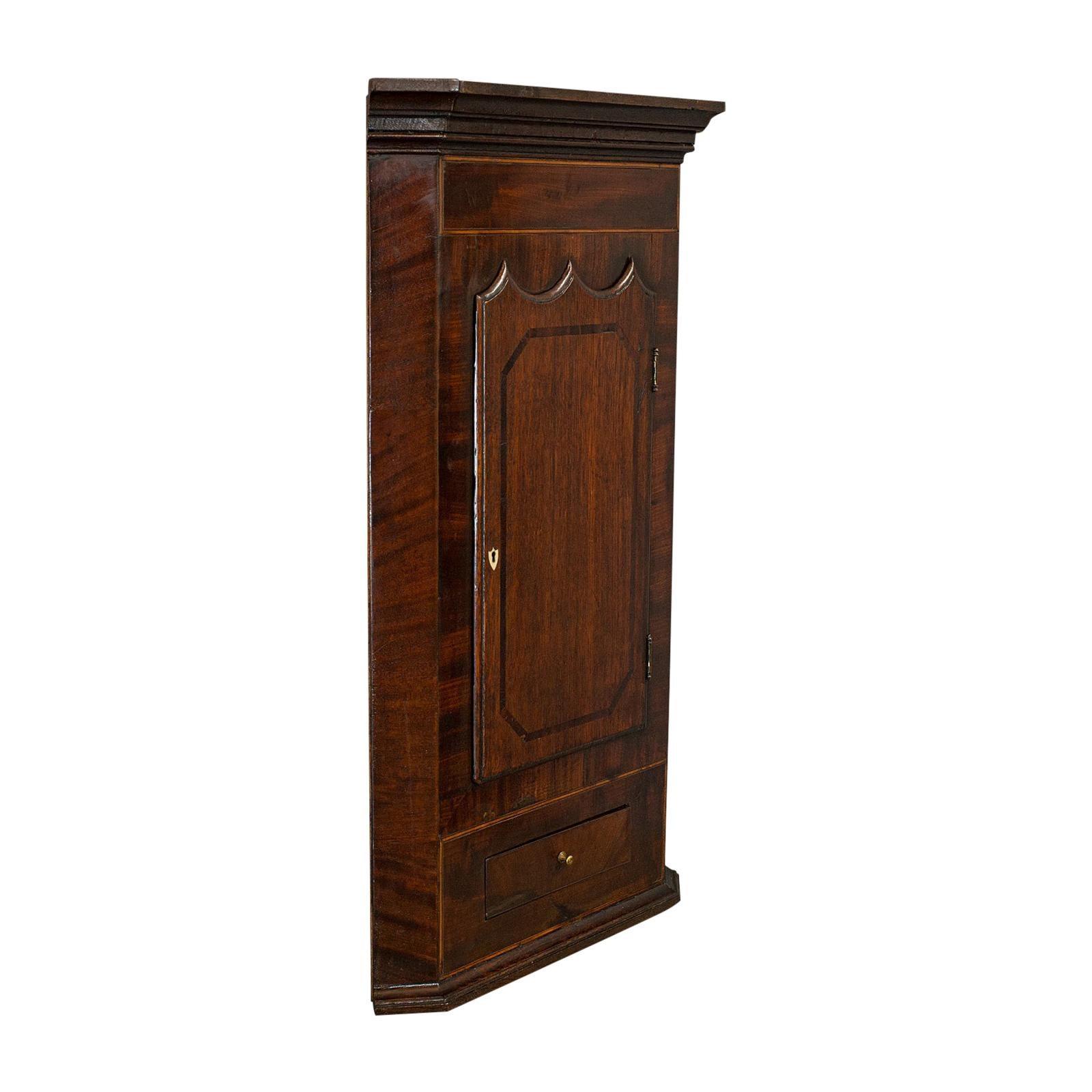 Corner Cabinet, English, Oak, Mahogany, Wall Hanging, Georgian, circa 1800
