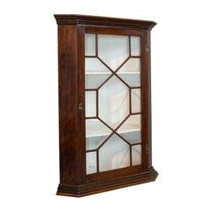 Antique Corner Cabinet, English, Walnut, Cupboard, Astragal Glazed, Georgian
